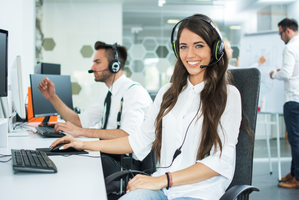 Woman working for answering service