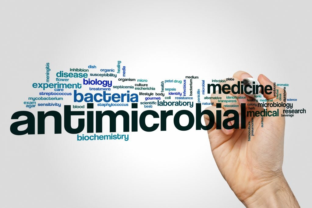Antimicrobial word cloud concept on grey background