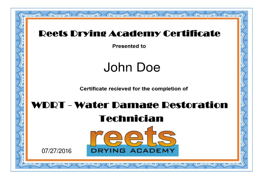 Reets Drying Academy Certificate For Single User Reetstv