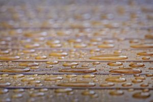 Water drops on wooden surface. Very shallow depth of field.
