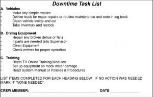 Tech Down Time Task List