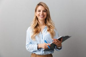 Woman holding checklist