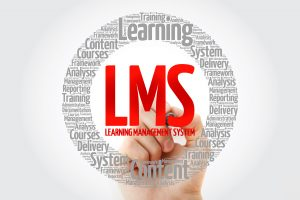 LMS - Learning Management System word cloud with marker, business concept background